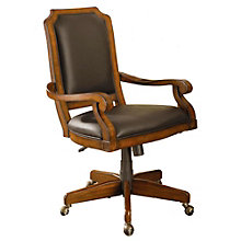 Classic Cherry Wood Frame Computer Chair in Faux Leather, 8803290