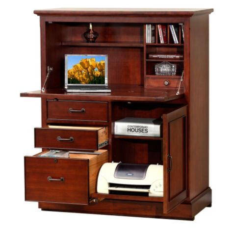 Creative Details About Western Rustic Computer Armoire Real Wood Desk Free