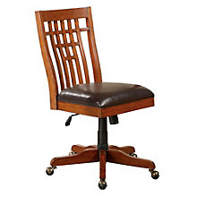 Zahara Wood Back Chair with Faux Leather Seat, 8803371