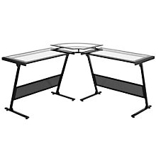 "Delano Framed Glass L Desk - 65""W, 8802965"