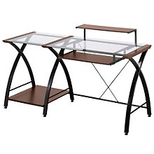 "Brisa Glass Desk with Printer Stand - 61""W, 8802970"