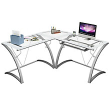 "Kora Frosted Edge Glass L Desk - 66""W, 8802968"