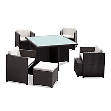 Naples Outdoor Dining Set with 4 Chairs and 4 Ottomans, ZUO-701210