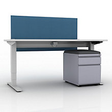 "EZ Lift Height Adjustable Desk with Privacy Screen and Mobile File - 60""W, 8804146"