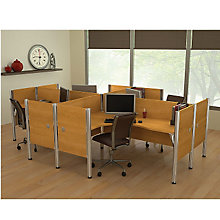 Pro Biz Four-Person Workstation with End Panels, BES-100859C