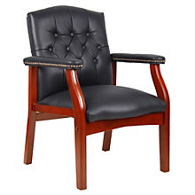 Leather Traditional Tufted Guest Arm Chair, BOC-B969