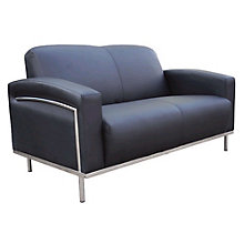 Black Vinyl Reception Loveseat, 8803689