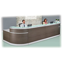 "Double Glass Top Reception Desk - 190""W x 64""D, 8803479"