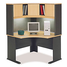 Corner Desk Hutch w Task Light, BUS-10134