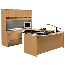 Bow Front U-Desk with Left Bridge and Hutch, OFG-UD1015