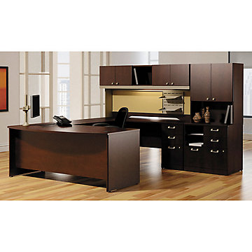 Right U-Desk with Combo File and Overhead Storage, SET