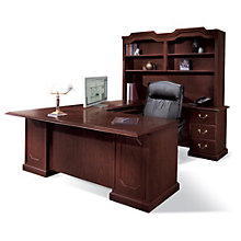 Traditional Mahogany Executive Right Bridge U-Desk with Hutch, OFG-UD0003