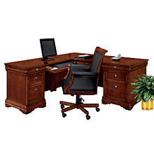 "Chocolate Patina Finish Executive Left ""L"" Desk, DMI-7684-56"