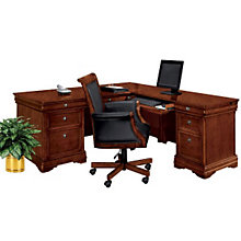 "Chocolate Patina Finish Executive Right ""L"" Desk, DMI-7684-55"