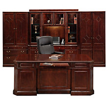 Oxmoor Merlot Cherry Executive Desk and Wall Unit, OFG-EX0051