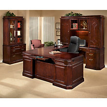 Oxmoor Merlot Cherry Right Executive U-Desk Suite, OFG-UD0150