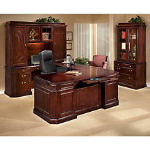 Oxmoor Merlot Cherry Left U-Desk Office Suite, OFG-UD0151