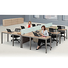Six Person Compact L-Desk Set in Warm Ash, 8804118