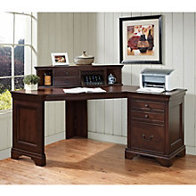 Belcourt Corner Single Pedestal Desk with Hutch, ERE-11199