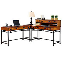 Modern Craftsman L-Desk with Hutch, HOT-10812