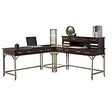 Bordeaux L-Desk with Hutch, HOT-10821