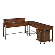 The Orleans L-Desk, Hutch, and Mobile File, 8801382
