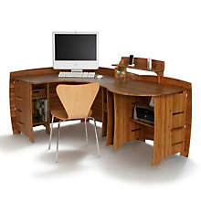 Bamboo Corner Desk with Peninsula, OFG-CD0033