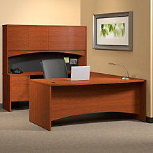 Cherry Laminate Bow Front U-Desk with Hutch, OFG-UD1079