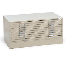 "Steel Ten Drawer 41"" Wide Flat File Cabinet with Flush Base, OFG-FB1000"
