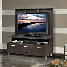 Espresso TV Stand with Media Drawers and Wall Panel, OFG-EF0085