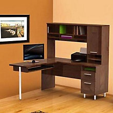 Truffle Finish L-Desk with Hutch, OFG-LD0087
