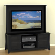 Tuxedo Black TV Stand with Wall Panel, OFG-EF0103
