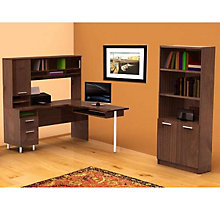 Truffle Finish L-Desk and Bookcase Set, OFG-EX0028