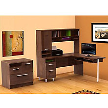 Truffle Finish L-Desk and Combo File Cabinet, OFG-EX0027