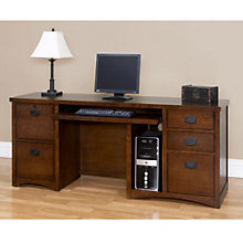 Mission Oak Computer Credenza and Keyboard, MRT-MO689M