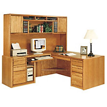 Medium Oak Computer L-Desk with Left Return and Hutch, OFG-LD1021
