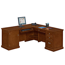 compact l desk with left return mrn 10747 cherry office furniture