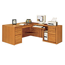 Medium Oak Computer L-Desk with Right Return, OFG-LD0024