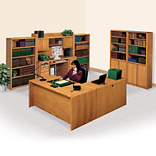 Contemporary Oak Left L-Desk Office Set, MRN-10750