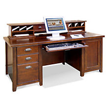 Tribeca Loft Cherry Computer Desk with Hutch, OFG-DH1088