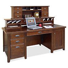 Tribeca Loft Cherry Computer Desk with Hutch, OFG-DH1089