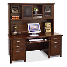 Tribeca Loft Cherry Executive Desk with Hutch, OFG-DH1090