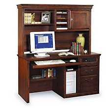 Burnished Oak Computer Desk with Hutch, OFG-DH0020