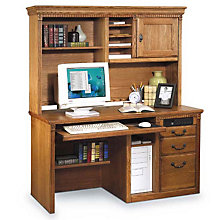 Wheat Oak Deluxe Desk with Hutch, OFG-DH0021