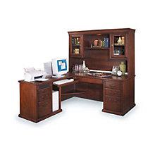 Burnished Oak Left Return L-Desk with Hutch, OFG-LD1037