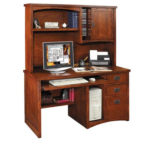 Mission pasadena computer desk with hutch ofg dh1081 and other browse all office furniture - Mission style computer desk with hutch ...