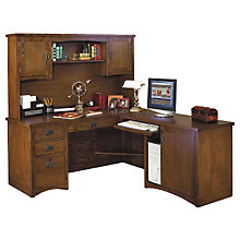 Mission Pasadena L-Desk with Right Return and Hutch, OFG-LD1100