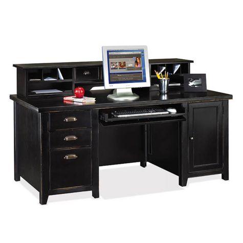Tribeca Loft Black Computer Desk With Hutch