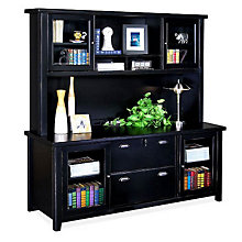 Tribeca Loft Black Credenza with Hutch, OFG-CH1017
