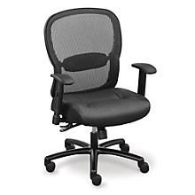 Linear Mesh Back Big and Tall Chair with Memory Foam Faux Leather Seat, 8801991